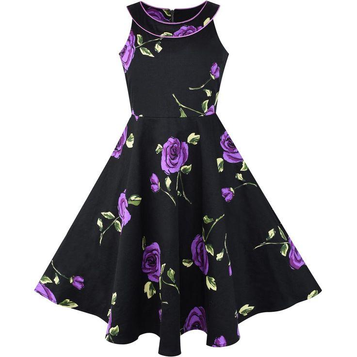 Girls Dress Black And Purple Flower Halter Dress Size 7-14 Years