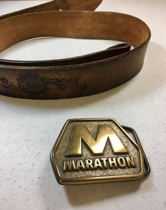 Marathon Oil Company Brass Belt Buckle Interchangeable on 1.5