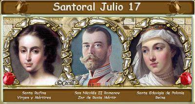 Santoral: Santoral del 17 de Julio  San León IV, papa  San Enodio, obispo de Pavía Santas Justa y Rufina, vírgenes y mártires San Alejo, mendigo, s. V Beata CONSTANZA DE ARAGÓN Santa EDUVIGIS DE POLONIA Beatas TERESA DE SAN AGUSTÍN y 15 compañeras mártires de Compiègn Beato PABLO GOJDICH OTROS SANTOS DEL DÍA