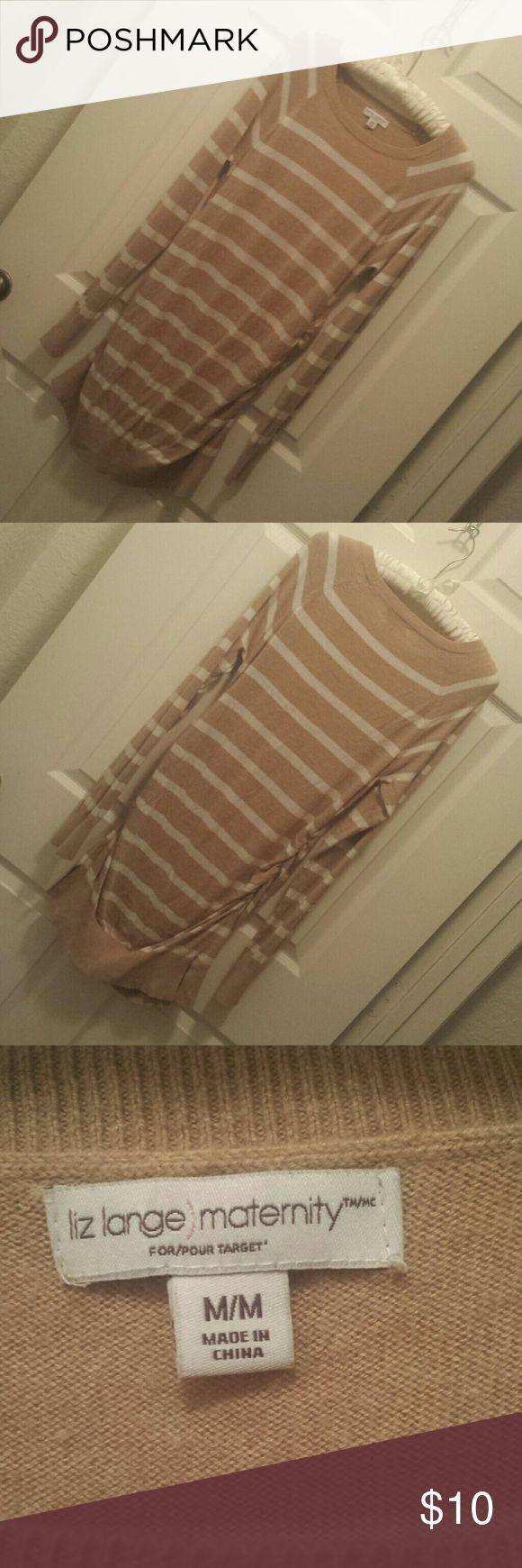Liz Lange maternity sweater dress Camel and white striped maternity sweater dress by Liz Lange. Liz Lange for Target Dresses Long Sleeve
