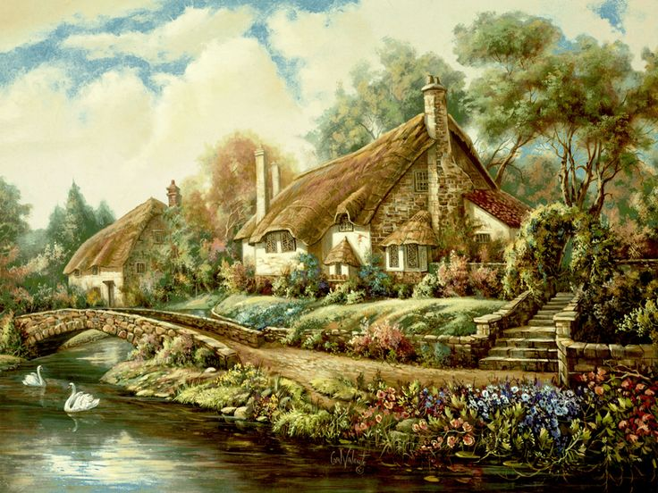 Village of Selworthy by Carl Valente ~ English country cottages along stream