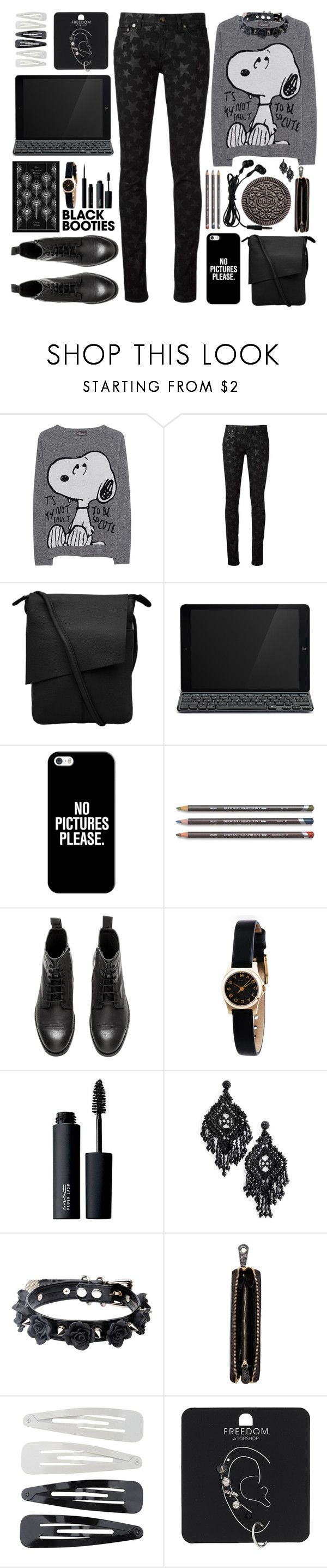 """Back To Basics: Black Booties"" by moodboardsbyluna ❤ liked on Polyvore featuring Princess Goes Hollywood, Yves Saint Laurent, Logitech, Casetify, H&M, Marc by Marc Jacobs, MAC Cosmetics, Kate Spade, Penguin Group and Nomadic"