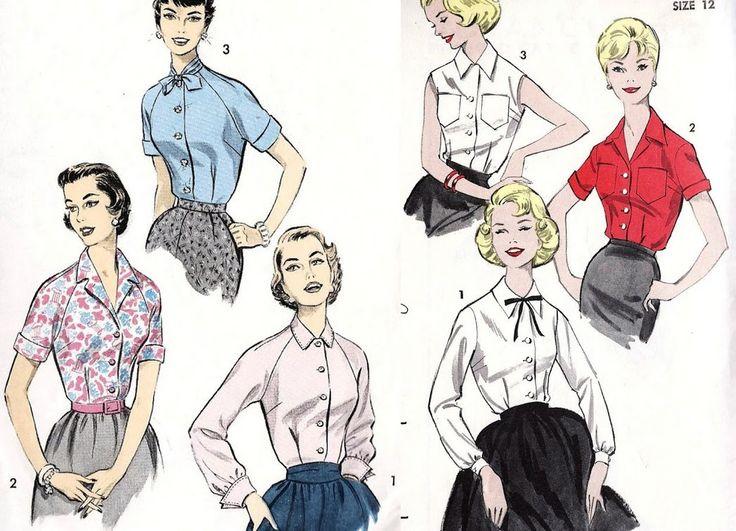 """Блузки: строгие и облегающие (по-настоящему приталенных блузок без рюш и кружев сейчас мало, отличным примером нужного кроя могут служить блузки эпохи """"нью-лук"""""""
