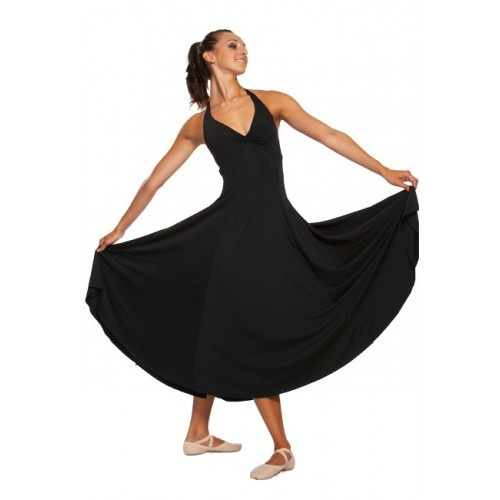 Mirella M1016, women's dress  Elegant halter neck dress with contoured empire seam, gathered bust detailing and full circular ultra flare skirt. Features bra modesty lining and adjustable neck fastening.   Fabric: 91% polyester 9% spandex.  Colours:BLACK  Price: 43.30€