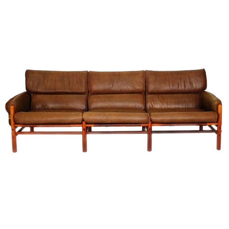 Arne Norell Safari Three Seat Sofa With Original Brown Buffalo Hide  Leather, European Beachwood