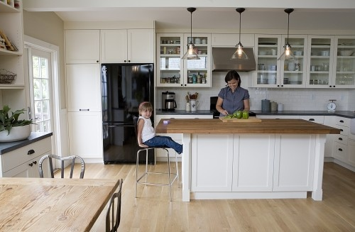 Unstained white oak plank: White oak floors in their natural state make a space feel so calm and serene. There's a casual and unfussy feel to this room that I respond to, and of course, the light floors make this space look lighter.