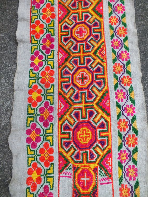 Vintage Hmong Fabric, handmade cross stitch hemp,fabric- textiles,-hill tribal fabric. via Etsy.