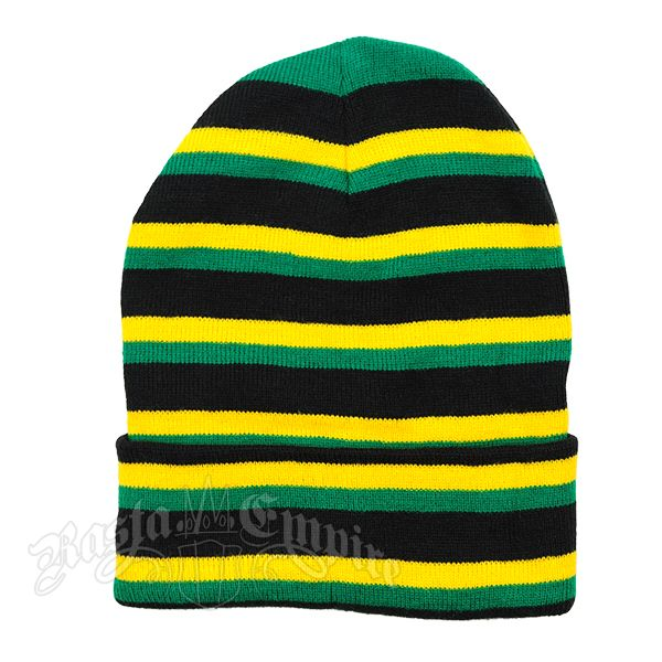 Long striped beanie hat in the colors of the Jamaican flag.
