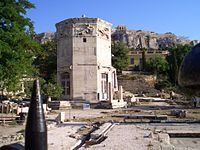 The Tower of the Winds, also called horologion (timepiece), is an octagonal Pentelic marble clocktower on the Roman agora in Athens. The structure features a combination of sundials, a water clock and a wind vane.