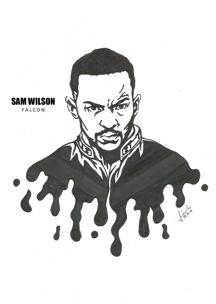 #sam #wilson #falcon #anthony #mackie #drawing #blackandwhite #marvel #avengers