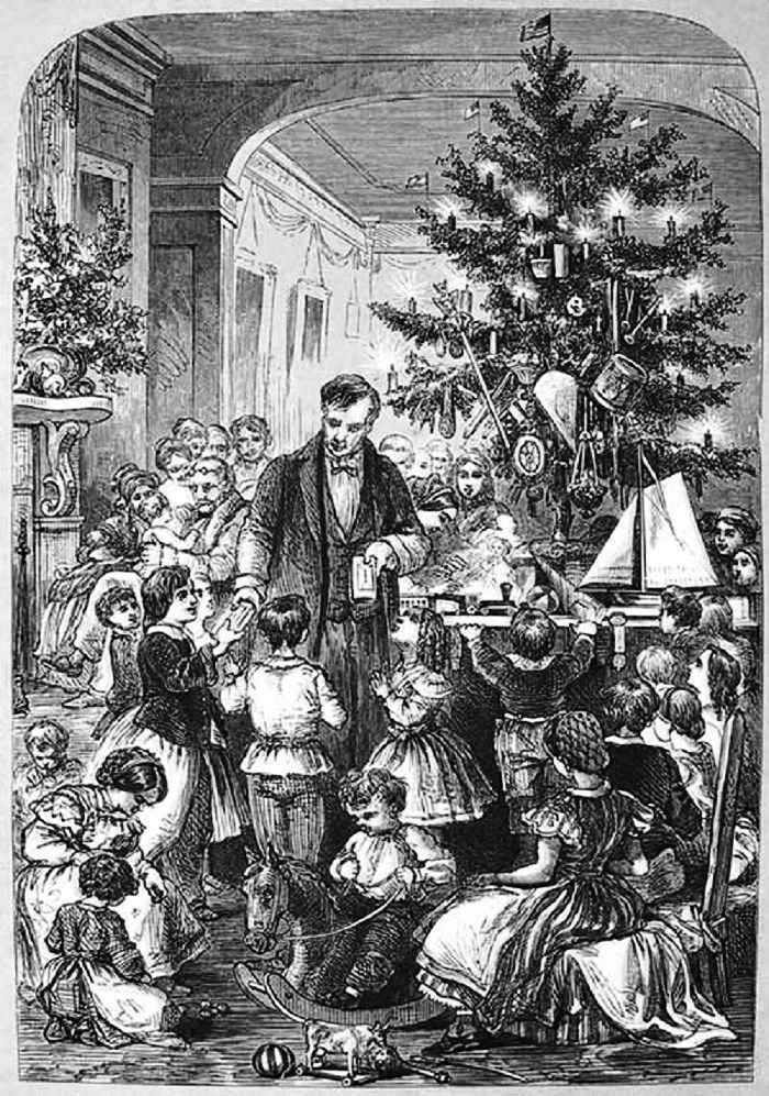 "Illustration by F.A. Chapman, titled ""The Christmas Tree,"" from the 1866 edition of Christmas Poems and Pictures."