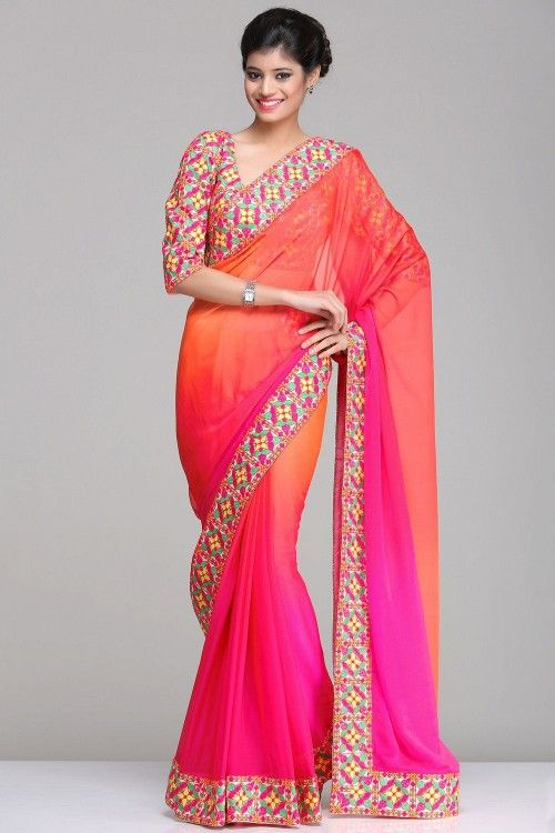 Designer Sarees by Goli Darzi | Tempting Shaded Pink & Orange Chiffon Saree With Colourful Kutch Inspired Embroidered Border & Blouse By Pankaj Arora | IndiaInMyBag.com