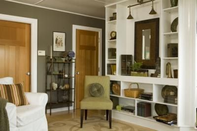 color palette: Wall Colors, Dining Rooms, Living Rooms, Taupe Paintings Colors, Built In, Artichokes Green, Shelves, Green Paintings Wall, Wood Doors