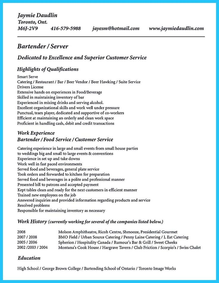 12 best 7\/16\/2017 bartender resume images on Pinterest Sample - sample hospitality resume