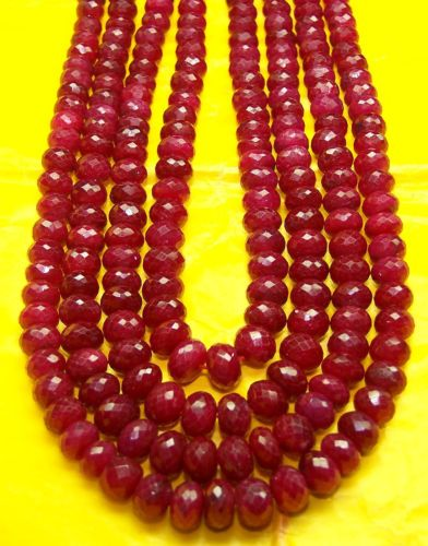 "1151 Ct Natural Ruby Faceted Roundelle 7 Strings Necklace AAA 19-15 "" 4.5-7 MM"