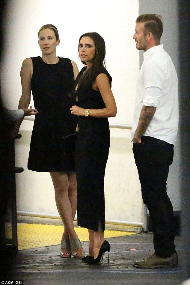 Power couples: Victoria Beckham and her husband David headed out to dinner with Spice Girls creator Simon Fuller and his wife Natalie Swanston on Friday night in Beverly Hills, California