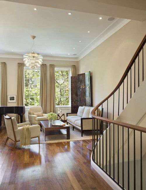 Tan living room walls white trim and wood floors upper - White walls living room ...