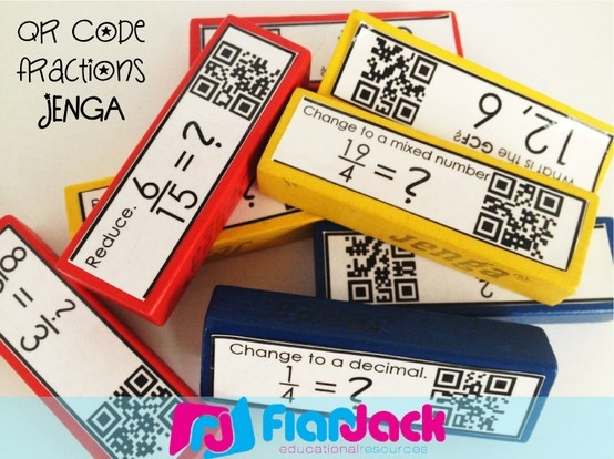 QR Code Fraction Jenga! Covers most of the 4th grade CCSSs on fraction - it's self-checking - it's fun - it's FREE! Great fraction review.