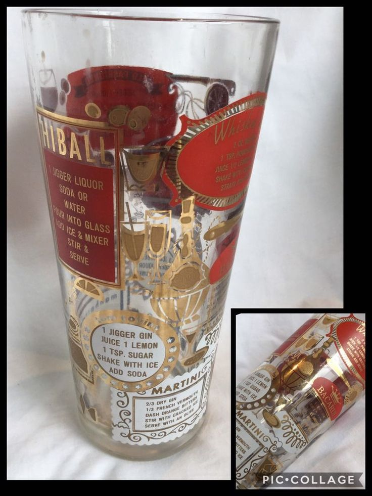 "Rare find Vintage Retro Mid Century Barware Cocktail Recipe Shaker or drinking Glass Stands 8"" tall (approx 20cm) Rim diameter approx 3.5"" (9cm) Bright Red Gold and white imaging to the glass, Pre owned vintage item. No cracks or chips or major flaws noted. All images are strong with no major fading or scratching noted. Needs a good wash. Some wear and tear with markings inside and out commensurate with age, use and storage. Refer pics as part of condition and description 
