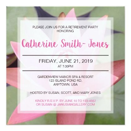 Pink Water Lily Retirement Party Invitation  Wedding Invitations