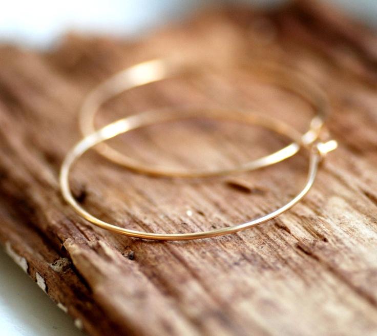 Gold Hoop Earrings, Gold Jewelry, Simple Hoops, Everyday Earrings, Hammered Hoops, 14k Goldfill Hoops - Little Black Dress. $33.00, via Etsy.