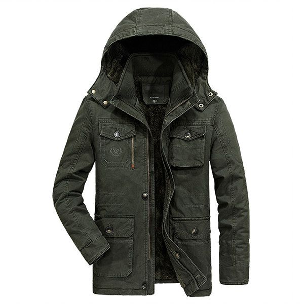 Plus Size Winter Outdoor Casual Thicken Mid Long Detachable Hood Jackets for Men