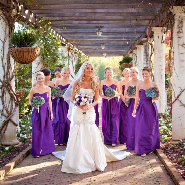 Purple Bridesmaid Dresses // Lauren Rosenau Photography // http://www.theknot.com/weddings/album/an-evening-garden-wedding-in-charlotte-nc-143990
