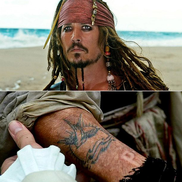 What's a pirate without some ink? Johnny Depp liked Jack Sparrow's tattoo so much that he got the design tattooed on his right arm for real, with a few personal touches: The sparrow flies toward him instead, and below the setting sun is inscribed his son's name, Jack. —Emily Rome