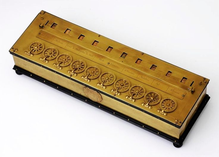 Pascaline calculating machine by Blaise Pascal, before 1647, Staatliche Kunstsammlungen Dresden, most probably the machine gifted by Pascal to Marie Louise Gonzaga in 1647