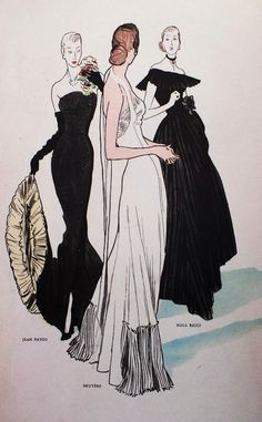 Fashion illustration by René Gruau, Winter 1946-47, Evening dresses by Jean Patou, Bruyère & Nina Ricci, Mode Figaro.