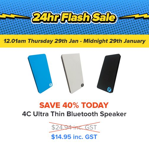 Flash Sale on T1 Ultra-Slim Bluetooth Speakers today only! $14.95 - save 40%: https://www.4cabling.com.au/flash-sale.html
