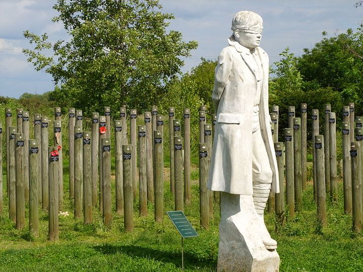 """The """"Shot at Dawn"""" memorial, built to remember the approximately 300 British soldiers executed for 'cowardice' during World War I.    Nearly a century later, they were pardoned."""