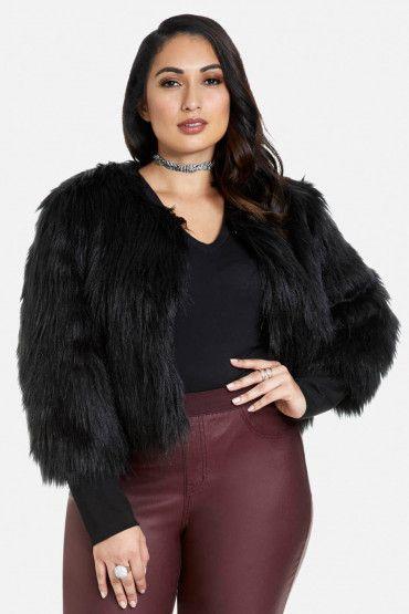 Noel Faux Fur Cropped Jacket (plus size) #plussizefashion #jacket #fall