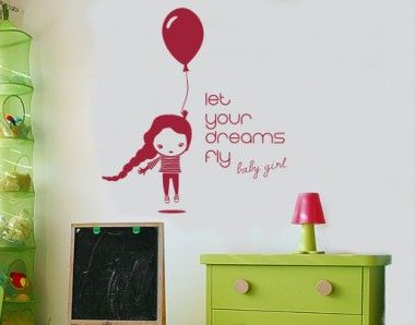 Lovely Wandtattoo Let your dreams fly baby girl