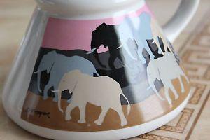 Elephant Coffee Mug Vintage T Taylor Coffee Cup Pink Walking Elephants | eBay