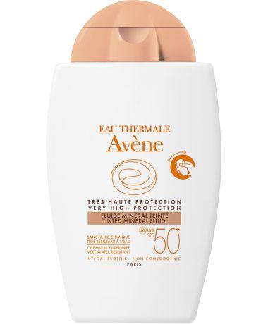 Avène Fluido Mineral Com Cor SPF 50+, Proteção solar muito elevada para o rosto. Proteção UVB-UVA extremamente abragente. Fotoestável. Muito resistente à água, textura fluida, suave.