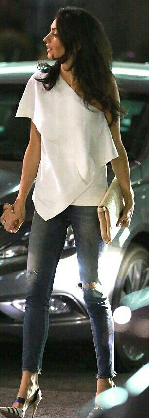 White Draped top-outfit  Amal Clooney Summer