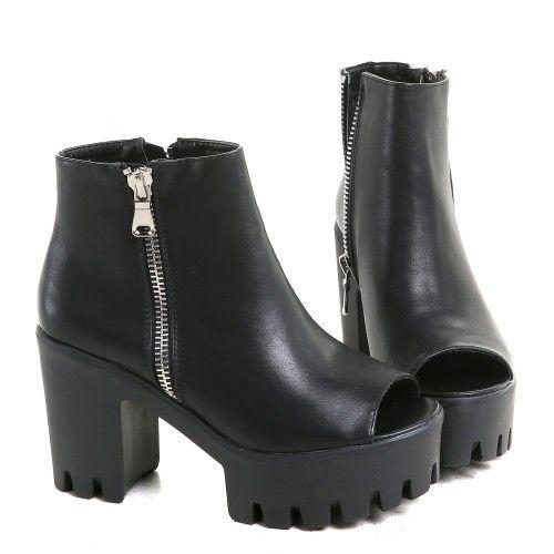 Zapatos Góticos de Polipiel con Cremallera | Crazyinlove España