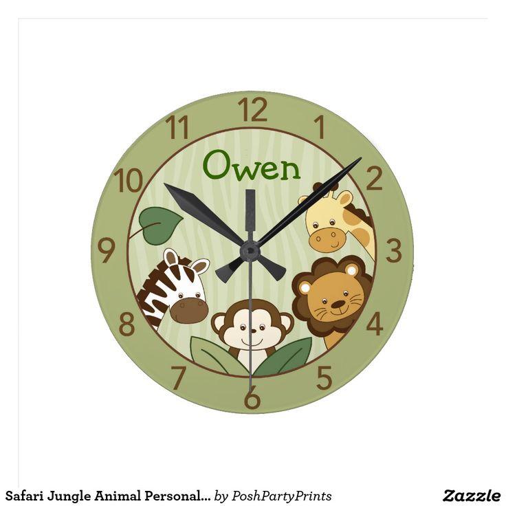 Safari Jungle Animal Personalised Wall Clock