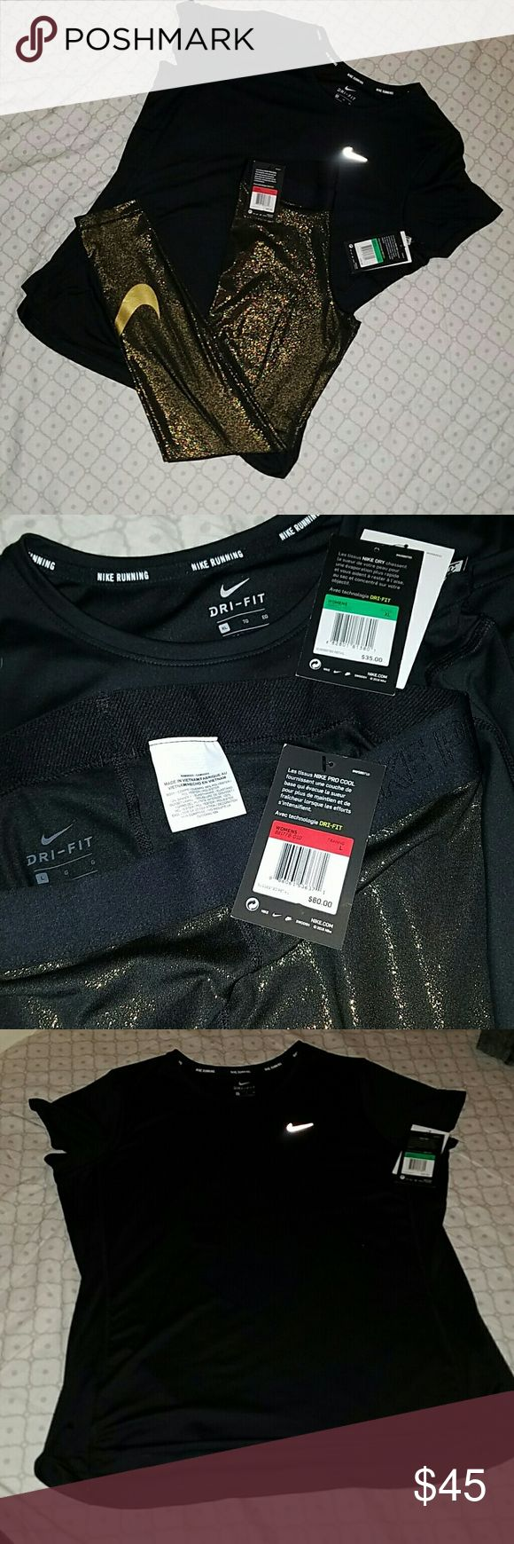 NWT Nike leggings and NWT Nike T-Shirt Nike gold shimmered leggings and Nike t-shirt Nike Pants Leggings