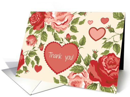 Thank You - Red Pink Hearts Flowers on Creamy Background cardAs low as $1.39  #thanks #hearts #flowers