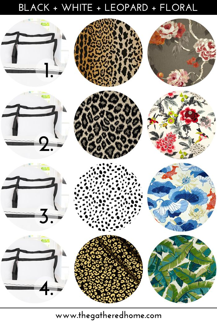 Give your bedroom an update with this effortless and foolproof decorating formula: black + white + leopard + floral . Mixing and matching encouraged!