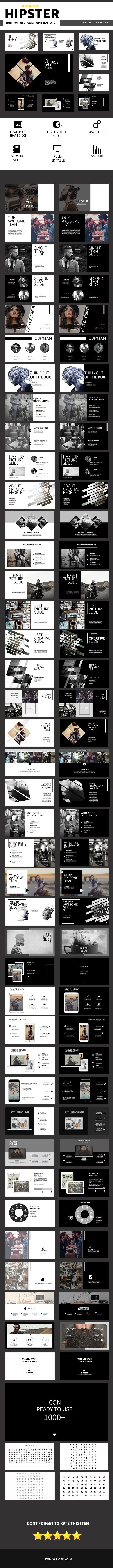 Hipster Multipurpose PowerPoint Template  #tech #advertisement • Download ➝ https://graphicriver.net/item/hipster-multipurpose-powerpoint-template/17985322?ref=pxcr