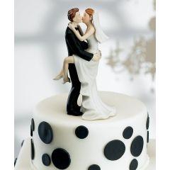 Brautpaar Porzellan küssend stürmisch Tortenaufsatz