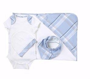 %100 Organik 4lü Basic Bebek Takımı Blue