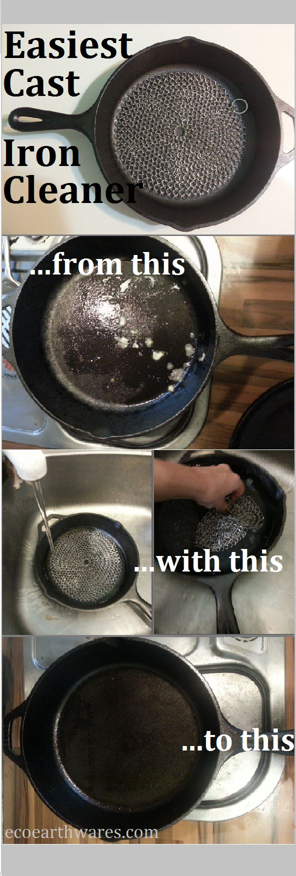 Have you been looking for an easy, germ-free, restorative, eco-friendly cast iron cleaning option? ScrubBrilliant Chainmail Pan Cleaner is awesome on pans from dutch ovens to cookie sheets, grills, griddles and glasswares. Get yours today on Amazon!