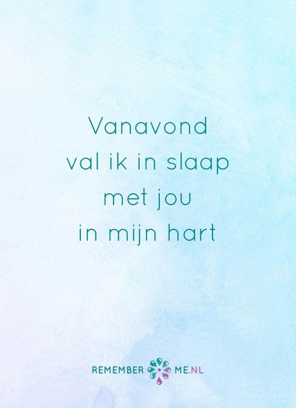 En hopelijk zie ik je in mijn dromen. Een quote over het afscheid, het verdriet en het gemis na de dood van een geliefde. Vind meer inspiratie over de uitvaart en rouwen op http://www.rememberme.nl