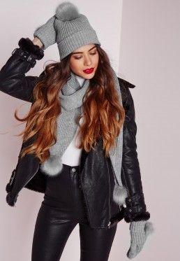 Hat Scarf Glove Set Grey