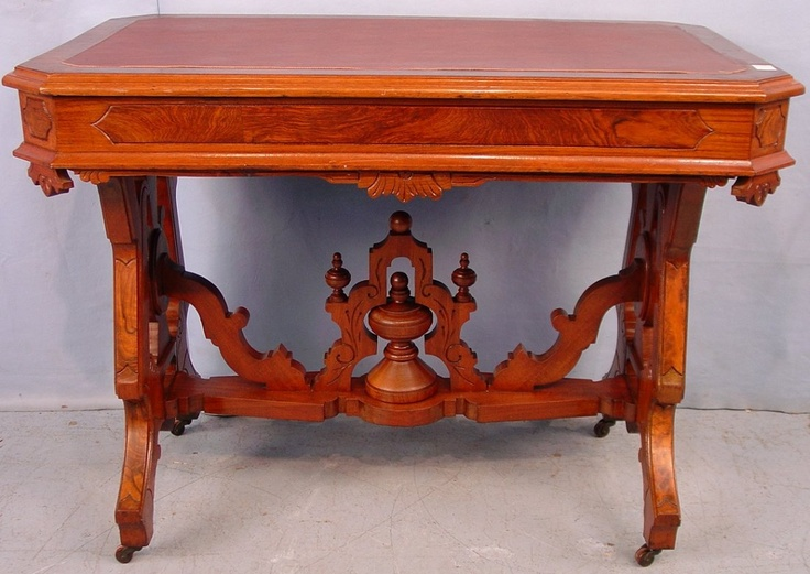 Victorian Renaissance Revival Walnut Library Table, Ornate Design With Lots Of Burl Trim  c.1875