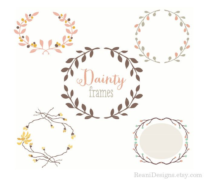 Wreath Design Frame Clipart for personal and commercial use - Clip art by Reani on Etsy. $8.00, via Etsy.